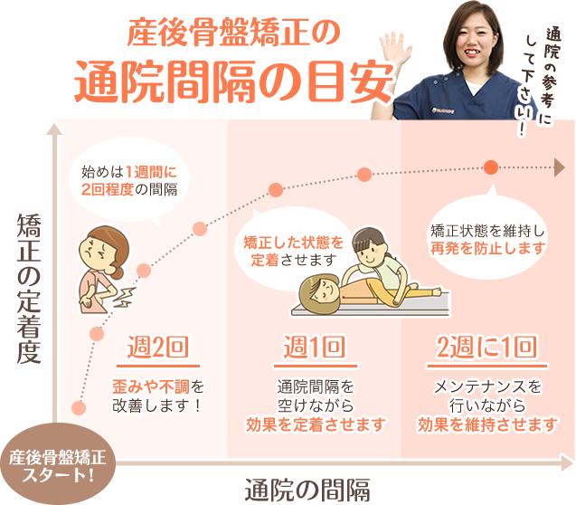 産後骨盤矯正の通院間隔の目安